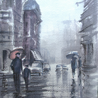 'London In The Rain' print