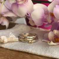 Set of three golden & silver stacking rings- Gold & Silver ring- Stacking ring