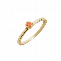 Solid 9ct gold ring with an orange topaz- Golden engagement ring