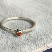 Sterling silver ring with orange topaz