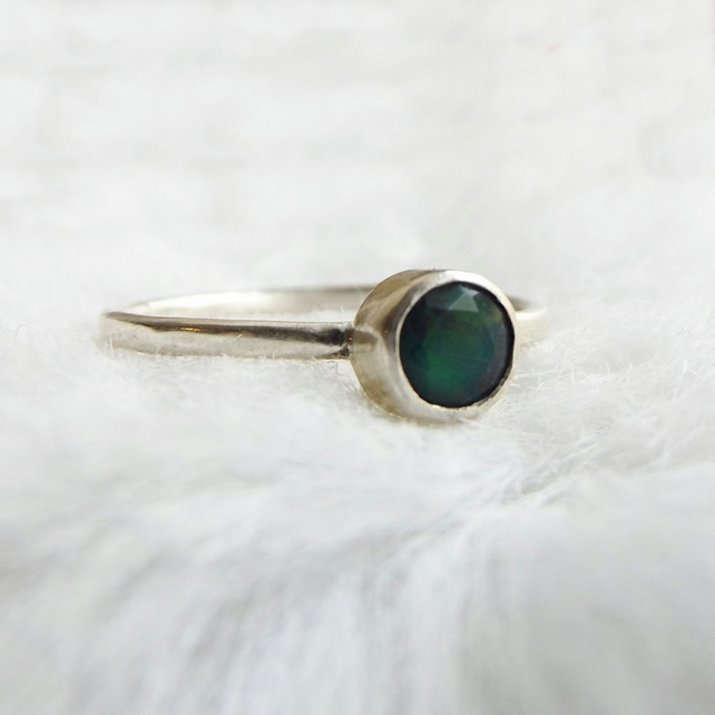 Sterling silver ring with black Ethiopian opal