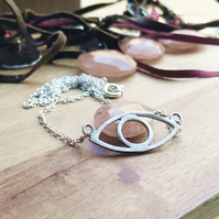 Sterlig silver layering necklace with eye pendant
