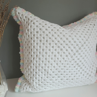 White Crochet Cushion, White Cushion, Rainbow Cushion, Soft Furnishings, Pillow