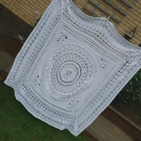 White Crochet Blanket, Decorative Throw, Cotton Blanket, Beadspread