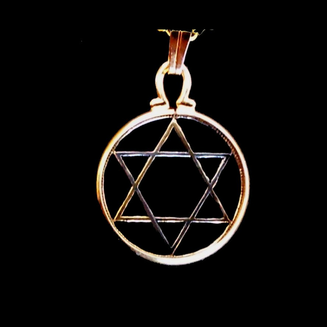 Jewish Star of David (Magen David) Zionist Hexagram Hebrew Cut Coin Pendant