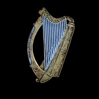 Irish Penny Lapel Badge or Tie Tack Music Harp Cut Coin Gold and Silver Layered