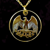 America Bald Eagle Cut Coin Pendant Necklace Gold and Silver Plated Qarter 25c