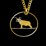 Manx Loaghtan Sheep Isle of Man Cut Coin Penny Necklace Gold & Silver Plated
