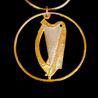 Musical Harp Pendant Necklace Cut From an Irish 10p Coin Gold and Silver Layered
