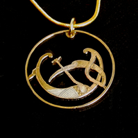 Stylized Bird Pendant Necklace Cut From an Irish 2p Coin Gold and Silver Plated
