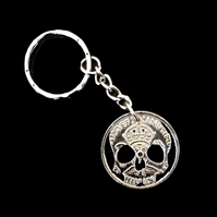Skull Head Cut Coin Key Fob with Chain Cut From A British Florin (Two Shillings)