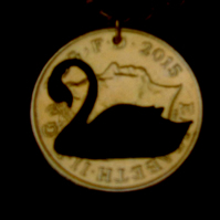 Handmade Swan Cut Coin Pendant Necklace Gold Plated British 10 Pence