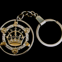 King George V 1934 Wreath Royal Crown Roses & Thistles Cut Coin Key Fob & Chain