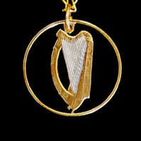 Celtic Harp Pendant Necklace Cut From an Irish 2p Coin Gold and Silver Layered