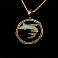 Flying Fish Gold & Silver Plated Barbados 1 Dollar Cut Coin Pendant Necklace