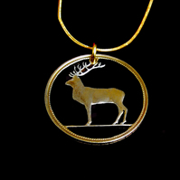 Red Deer Stag Pendant Necklace Cut From an Irish Punt Coin Gold & Silver Layered