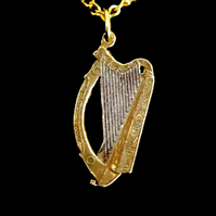 Saint Patrick's Day Harp Pendant Cut Coin Irish 2 Pence Gold & Silver Plated