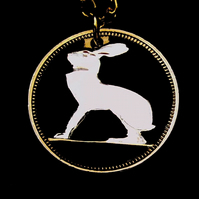 Lucky Rabbit Pendant Cut From an Irish Three Penny Coin Gold & Silver Layered