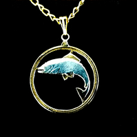 Gold & Silver Layered Leaping Salmon Fish Pendant Necklace Irish10p Cut Coin