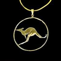 Australian Bush Kangaroo Gold Plated One Penny Cut Coin Pendant Necklace