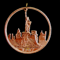 New York Skyline Cut Coin Penny Pendant You Choose The Date 1937 - 1967