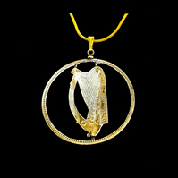 Celtic Harp Pendant Necklace Cut From an Irish Penny Coin Gold & Silver Layered