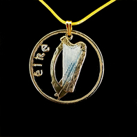 Celtic Harp with Eire Irish Penny Cut Coin Necklace Gold and Silver Layered