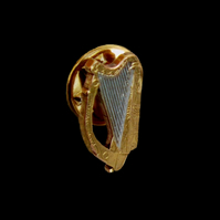 Celtic Harp Pin Badge or Tie Tack Cut Coin Irish 2 Pence Gold & Silver Plated