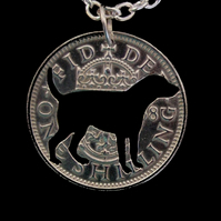 Fox Hound Hunting Dog Cut Coin Silver Plated Pendant English One Shilling