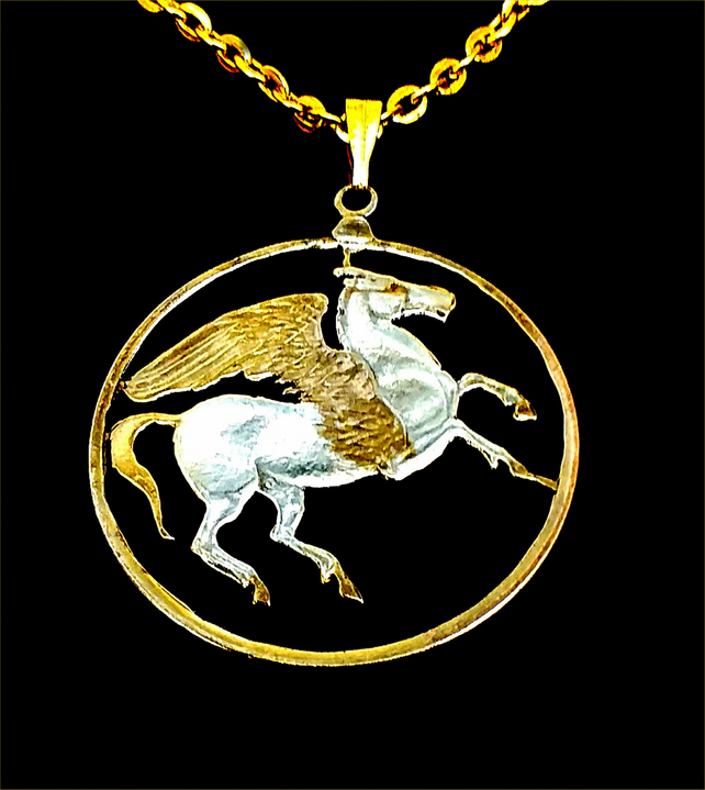 Pegasus The Winged Horse Gold & Silver Plated Greek 10 Drachma Cut Coin Pendant