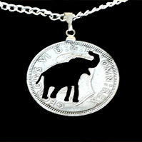 African Elephant Jungle Animal Cut Coin Silver Pendant English One Shilling