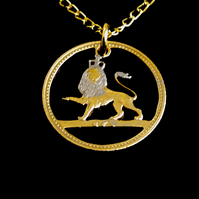 Crowned Lion Cut Coin Pendant Necklace Gold and Silver Plated 10 Pence