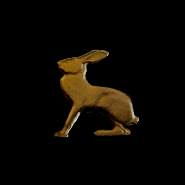 Irish Gold Plated Lucky Rabbit Pin Badge or Tie Tack Cut From a 3 Penny Coin