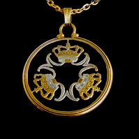 Letter M 's and Crowns Gold & Silver Plated Danish 5 Krona Cut Coin Pendant