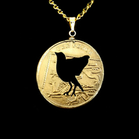 Handmade Bird Cut Coin Pendant Necklace Gold Plated British 10 Pence