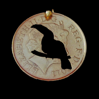 Toucan Bird Coin Pendant Necklace Gold Plated British 10 Pence