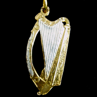 Harp Cut Coin Pendant  Irish Pre-Decimal  One Penny Gold & Silver Plated