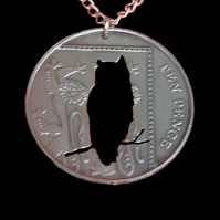 Owl Bird Coin Pendant Necklace Chromium Plated British 10 Pence