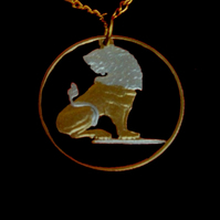 Belgian Lion Cut Coin Pendant Necklace Gold and Silver Plated Belgium1 Franc
