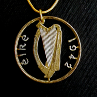 Irish Penny Harp Cut Coin Pendant Gold & Silver Layered Year Choice 1940 - 1968