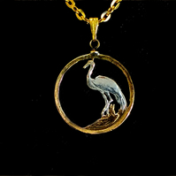 Crane Bird Cut Coin Pendant Necklace Gold and Silver Plated South African 5c