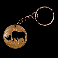 Rhinoceros Animal Image Key Fob and Chain Cut From a Pre-Decima Penny Coin