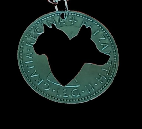Cat and Dog Animals Cut Coin Pendant Necklace Cut from an English One Shilling