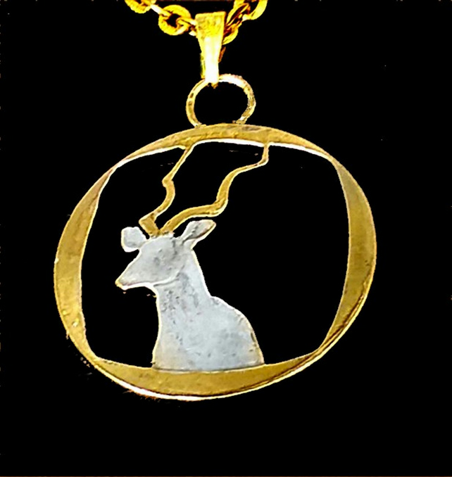 South African Antelope Cut 2 Rand Coin Gold & Silver Plated Pendant Necklace