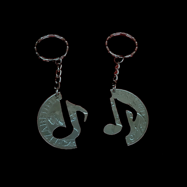 Friendship in Harmony Musical Notes Interlocking Jigsaw Crown Cut Coin Key Fobs