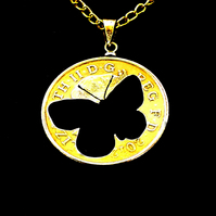 Butterfly Cut Coin Pendant Necklace Gold Plated British 10 Pence