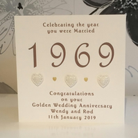 "Golden 50th Wedding Anniversary 6""sq Card  Celebrating the Year You Were Married"
