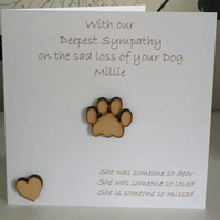 Personalised on the sad loss of your Dog Sympathy Card Wooden Paw Print & Heart