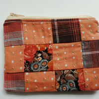 Patchwork zipped coin purse
