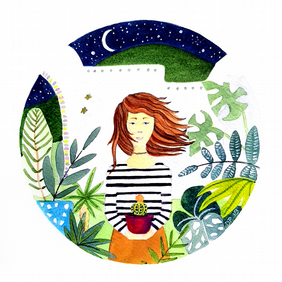 Happy Little Plant Lady - Original Watercolour